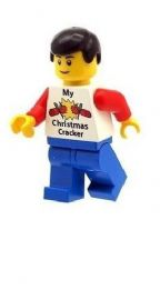 Male Boy with  My Christmas Cracker T-Shirt - Custom Designed Minifigure